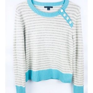 Banana Republic Blue & Gray Striped Sweater Size L